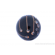 Perle en verre d'artisan - ronde - brun foncé / clair /blanc