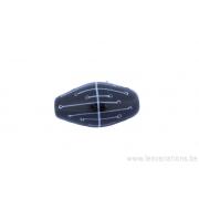 Perle en verre d'artisan - ovale - noir / blanc
