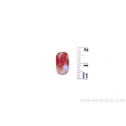 Perle en verre rectangulaire tordue - tigré corail et blanc x 4