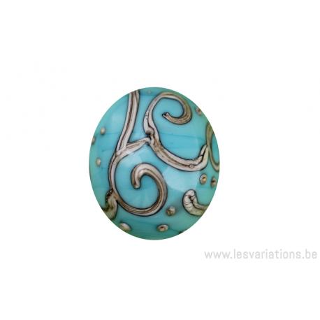 Perle en verre d'artisan - ovale - turquoise / beige