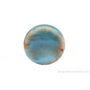 Perle en céramique - ronde en forme de roue - nuance de brun / vert