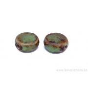 Perle en céramique - ronde en forme de roue - nuance de bleu / vert / brun