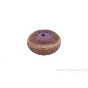 Perle en céramique - ronde en forme de roue - nuance de rose / brun