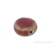 Perle en céramique - ronde en forme de roue - nuance de rouge / brun