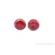 Perle en céramique - ronde en forme de roue - nuance de rouge / noir