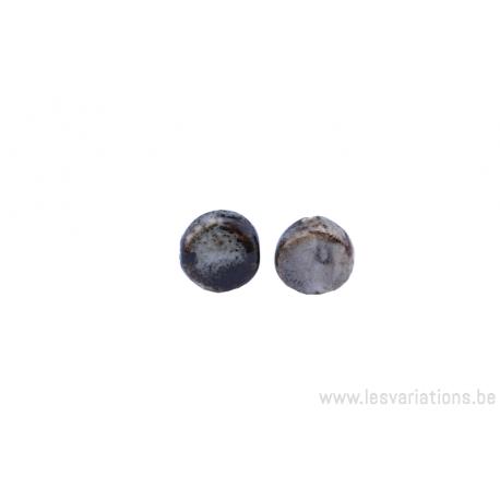 Perle en céramique - ronde en forme de roue - nuance de noir