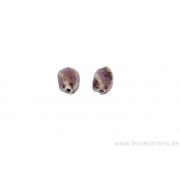 Perle en céramique - ovale - torsadé - rose - tacheté de noir