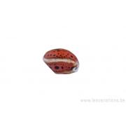 Perle en céramique - ovale - torsadé - nuance d'orange - tacheté de noir