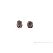 Perle en céramique - ovale - 4 facettes - nuance de brun / vert