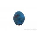 Perle en céramique - ovale - bleu / brun