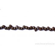 Perle en nacre - graine de riz - bronze x 10