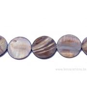 Perle en nacre - ronde en forme de roue- brun