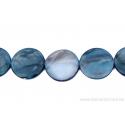 Perle en nacre - ronde en forme de roue- bleu