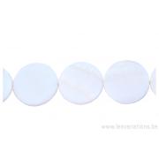 Perle en nacre - ronde en forme de roue- blanc nacre