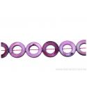 Perle en nacre - ronde en forme de roue - rose foncé