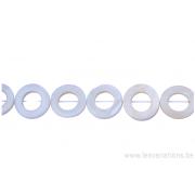 Perle en nacre - ronde en forme de roue - blanc nacre