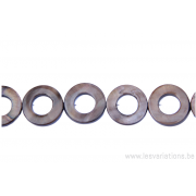 Perle en nacre - ronde en forme de roue - brun