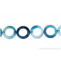 Perle en nacre - ronde en forme de roue - bleu