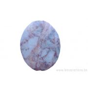 Perle en pierre naturelle - ovale - marbre - rose
