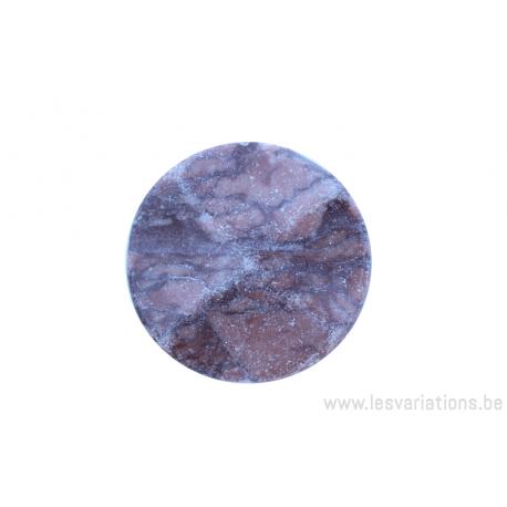 Perle en pierre naturelle - ronde en forme de roue - marbre - rose