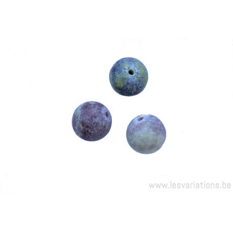 Perle en pierre naturelle - ronde - jaspe- multi couleur