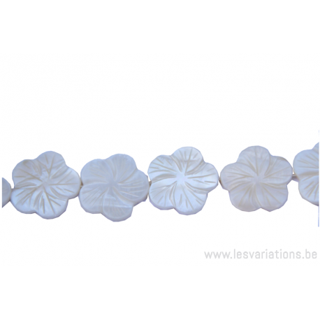 Perle en nacre - fleur - blanc nacre