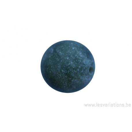 Perle en pierre naturelle - néphrite ronde - vert tacheté