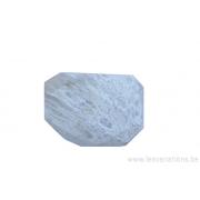 Perle en pierre naturelle - corail fossilisé - rectangulaire à facettes - blanc crème