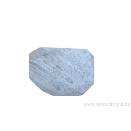 Perle en pierre naturelle - corail fossilisé - rectangulaire à facette - blanc crème