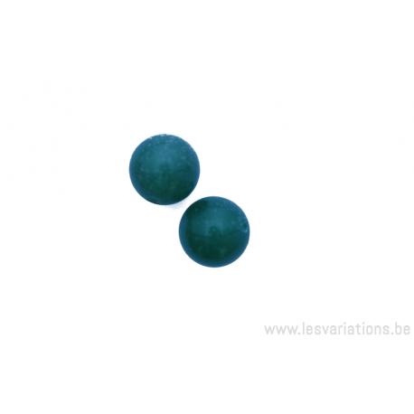 Perle en pierre naturelle Aventurine - ronde - rose pailleté