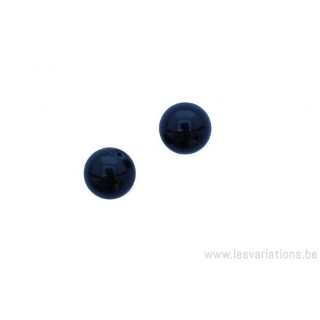 Perle en pierre naturelle Onyx - ronde - noir