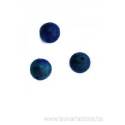 Perle en pierre naturelle en malachite azurite - ronde - vert /bleu x 10