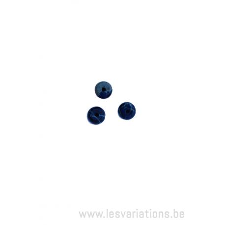 Perle en pierre naturelle en malachite azurite - ronde en forme de roue - vert /bleu