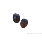 Perle en pierre naturelle œil de tigre - ovale - brun