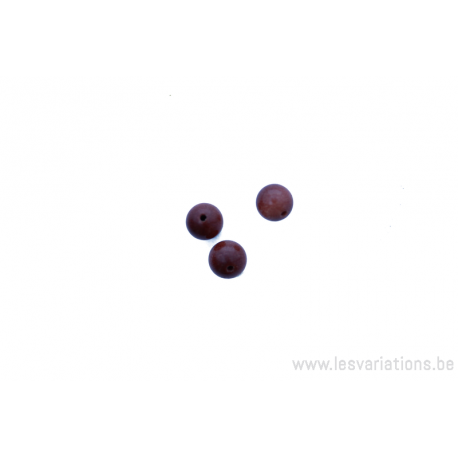 Perle en pierre naturelle en goldfluss - ronde - brun