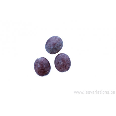 Perle en pierre naturelle Agate mousse- ovale - brun