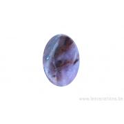 Perle en pierre naturelle Agate mousse- ovale - brun / rose clair