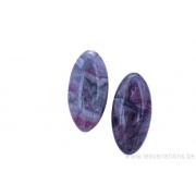 Perle en pierre naturelle en marbre - ovale - rose