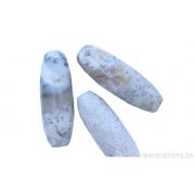 Perle en pierre naturelle - ovale / Tonneau - jaspe- blanc