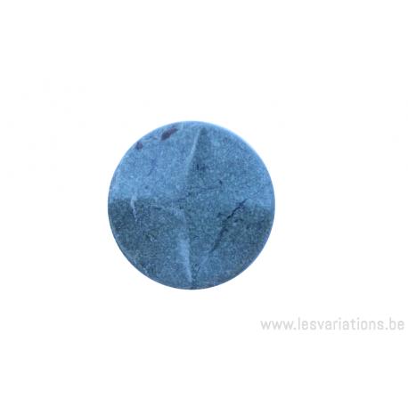 Perle en pierre naturelle - néphrite -ronde forme de roue 4 facette - vert