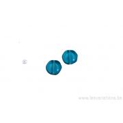 Perle en verre ronde en forme de roue - bleu turquoise x 4