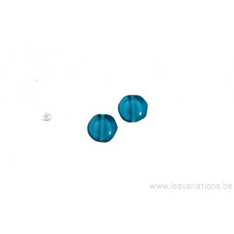 Perle en verre ronde en forme de roue - bleu turquoise