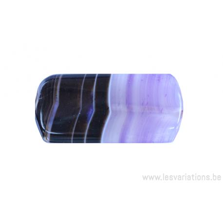 Perle en pierre naturelle - Agate - rectangulaire - dégradé de brun /mauve