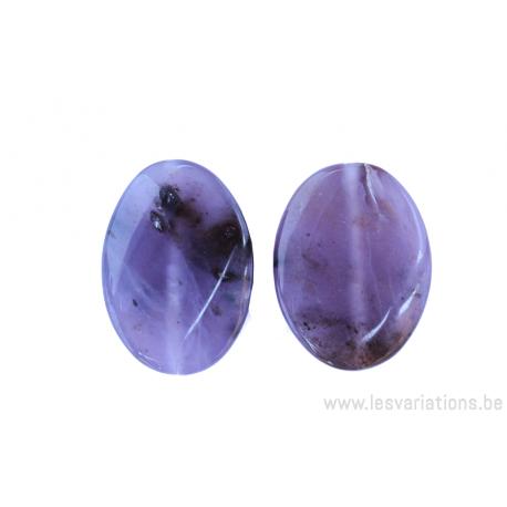 Perle en pierre naturelle - Agate - ovale - brun /mauve