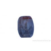 Perle en pierre naturelle - Agate - forme de tonneau coupé - gris / noir