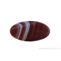 Perle en pierre naturelle - agate - ovale - brun / blanc