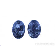 Perle en pierre naturelle - Onyx - ovale - noir / blanc