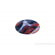 Perle en pierre naturelle - agate - ovale - brun / noir