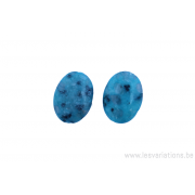 Perle en pierre naturelle - Agate - ovale - bleu