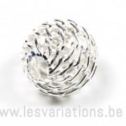 Perle ronde ajourée - 8mm - en argent 925 x 2
